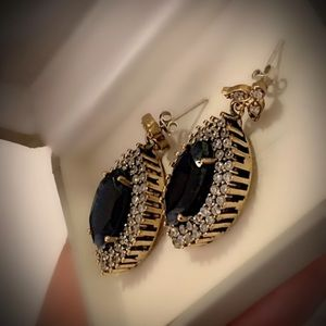 SAPPHIRE EARRINGS Solid 925 Sterling Silver/Gold